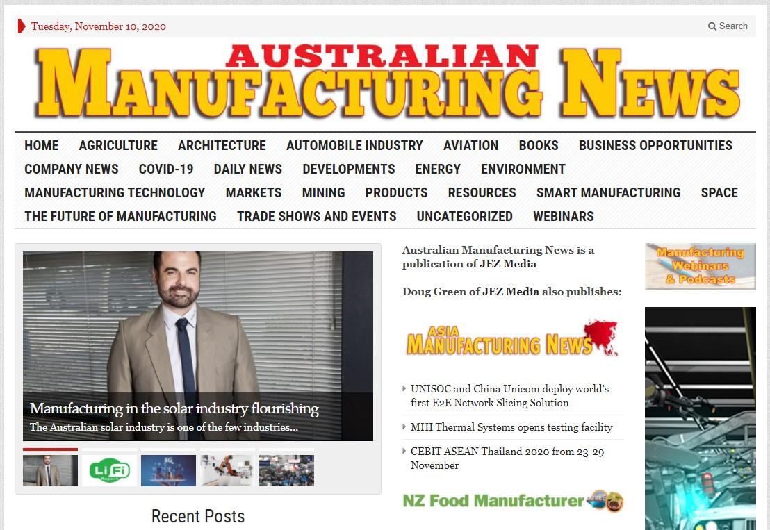 Australian Manufacturing News_Cutter Rail_PVezRack_Clenergy